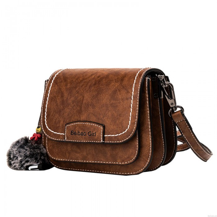 Retro Brown Bear Decor Crossbody Bag One Shoulder Multilayer PU Saddle Bag For Women Shoulder Bag