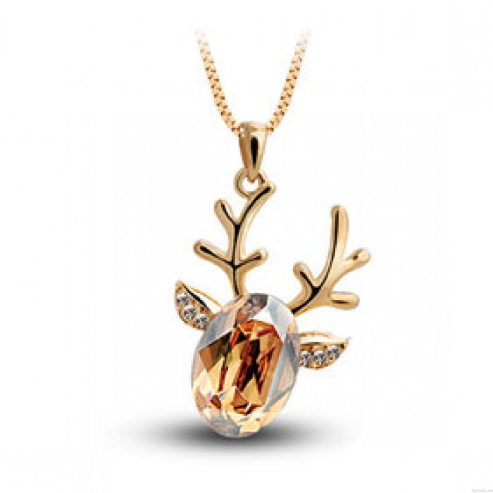Cute Crystal Lucky Deer Pendant Necklace
