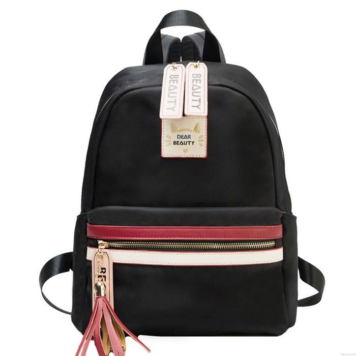 Fresh Red White Stripe Large Capacity Oxford Waterproof School Backpack