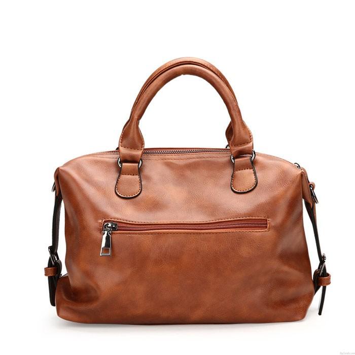 Retro Double Buckle Decor Soft Portable Boston Bag Elegant Female Handbag Sturdy Shoulder Bag
