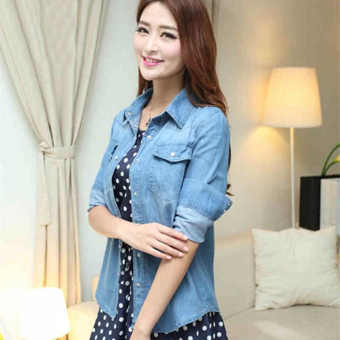 Fashion Style Gradient Washed Denim Slim Shirt