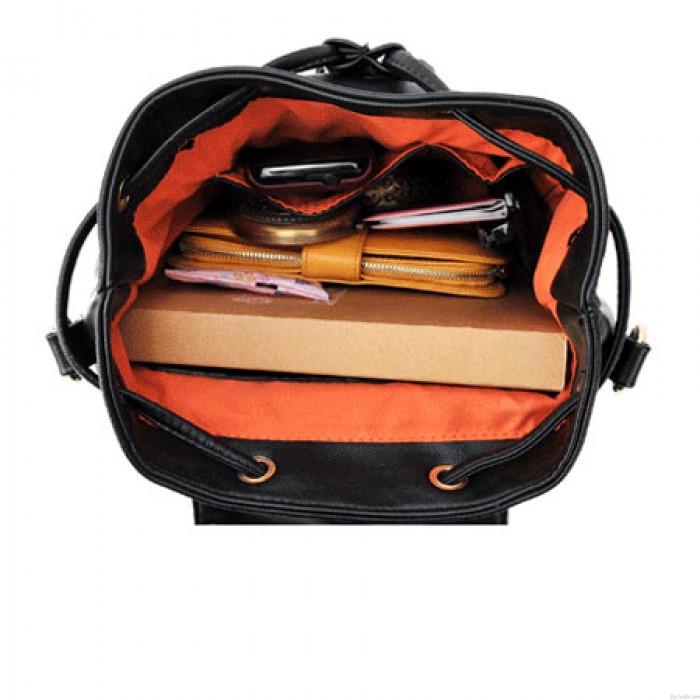 Unique Button Rivet Bucket PU Backpack