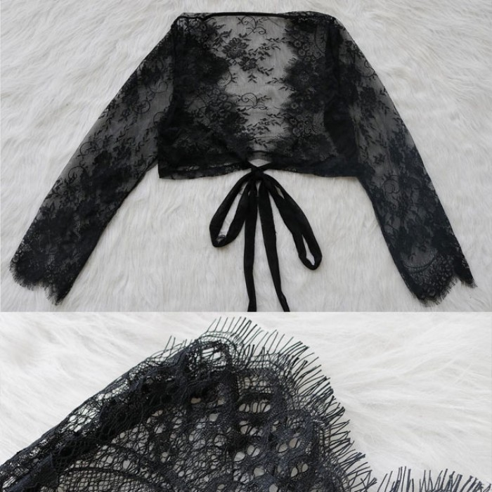 Sexy Eyelash Lace Long-Sleeved Pajamas Hollow Mesh Tops Intimate Lingerie