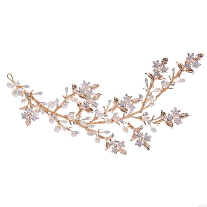 Fresh Tree Branch Leaves Pearl Wedding Hair Band Bridal Hair Accessories