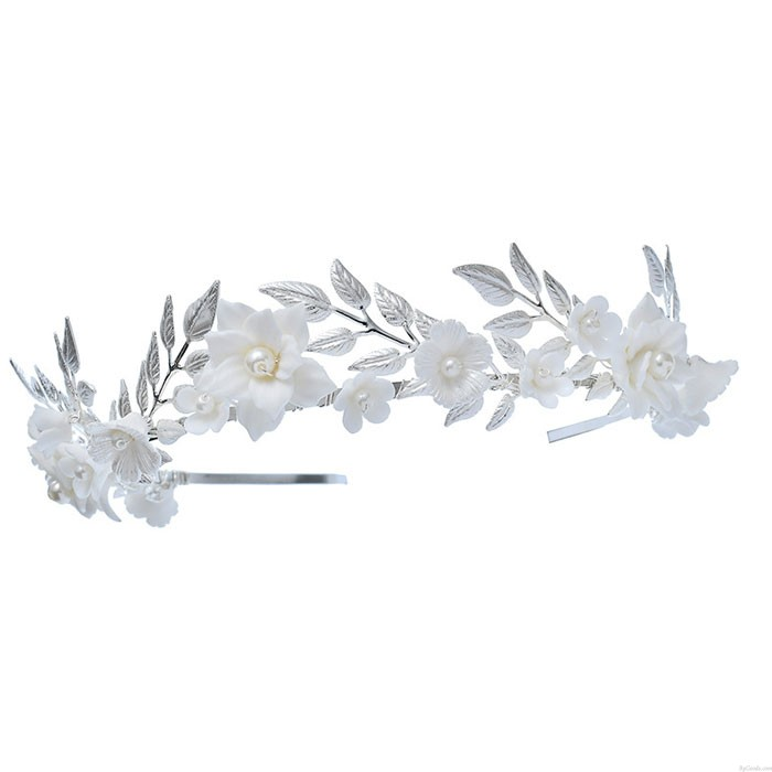 Unique White Flower Pearl Leaves Crown Forest Style Wedding Brides Hair Accessories