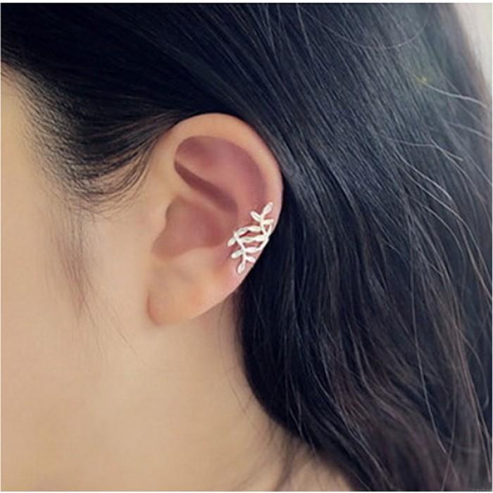 Cute Leaves Silver Pierced Ear Clip Earring