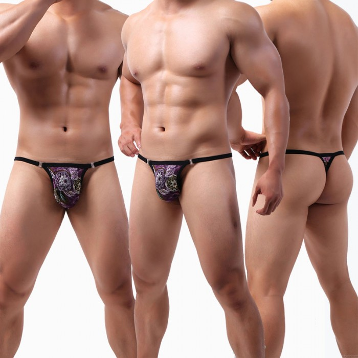 Sexy Underwear For Men Colorful Large Pouch Breathable Lace G-String Men's Thong Low Rise Lingerie