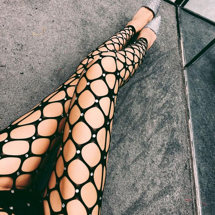 Sexy Net Pants Fishnet Shining Diamond Socks Women's Stocking