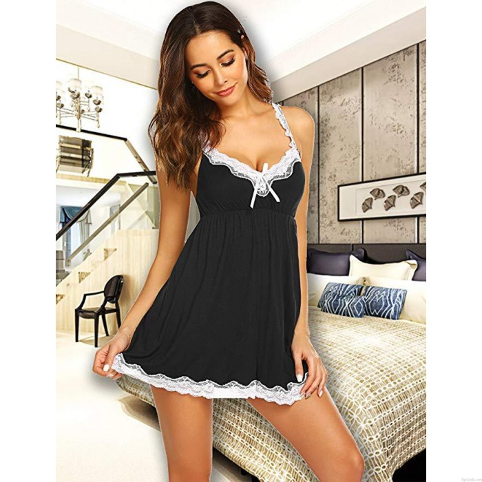 Sexy Lace Bowknot Chemise Babydoll Sleepwear Women Halter V Neck Pajamas Nightdress Lingerie