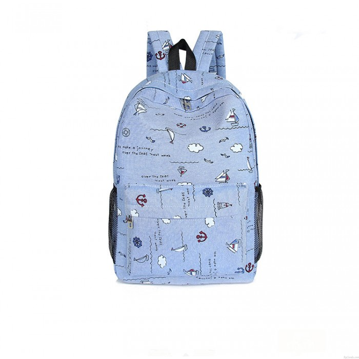 Leisure College Sailing Seagull Clouds Anchor Canvas Backpack