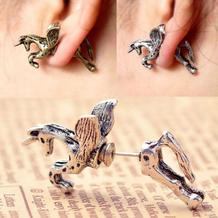 Retro Punk Horse Bronzed Silver Pegasus Earring Studs