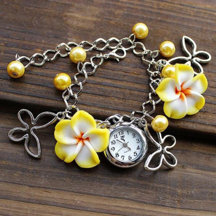 Fresh Pearl Flowers Metal Bracelet Watch