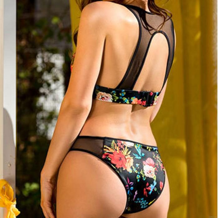 Sexy Women's Mesh Flower Printing Sling Swimsuit Halter Hollowed-out Bikini