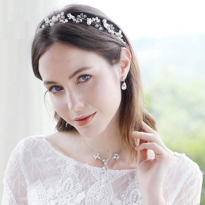 Unique Beautiful Flower Pearl Branch Handmade Beaded Headband Wedding Hair Accessories