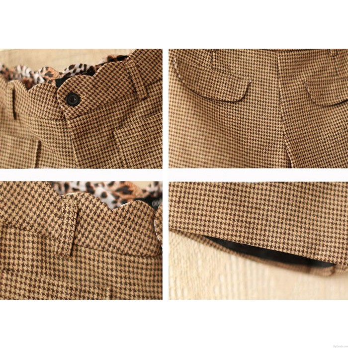 Fashion houndstooth woolen Leopard Printed Shorts