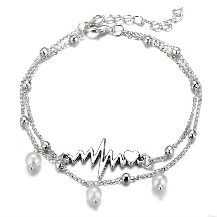 Retro Simple Fabric Pearl Anklet Silver ECG Heart Set 2 Piece Set Anklet