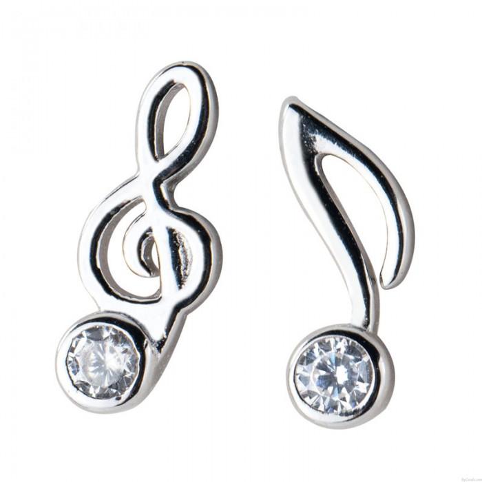 Fashion G-clef Music Note Crystal Silver Earrings For Women Asymmetrical Earrings Studs