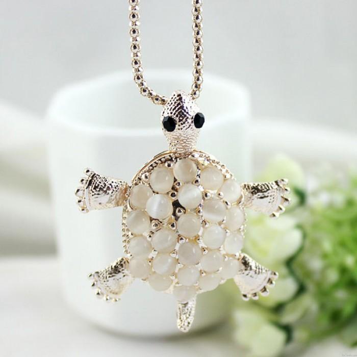 Little Turtle Cute Opal Hollow Flower Pendant Necklace Sweater Necklace