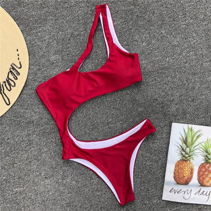 Sexy One Shoulder Irregular Sling Teddy Bodysuit Leopard Bikinis Summer Swimsuit