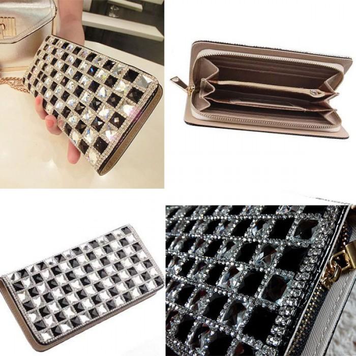 Fashion Leather Rhinestone Crocodile Long Wallet