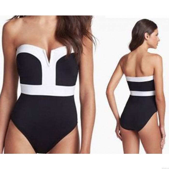 One-piece Sexy Contrast Color Bikinis Set Push Up Swimwear Beach Bathing Suit