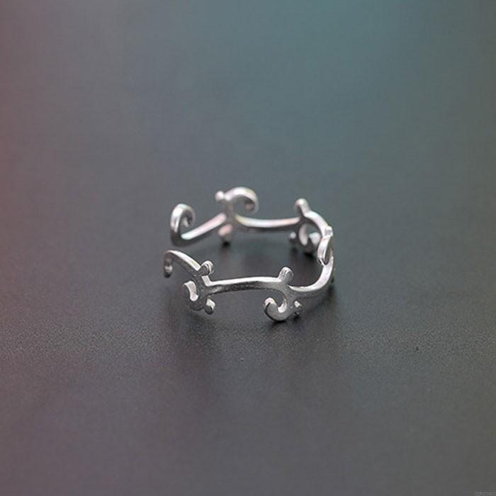 Cute Unique Flower Vine Women Silver Open Ring