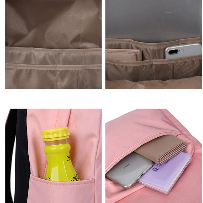 Simple Pure Color Large Preppy Waterproof High School Bag Student Backpack