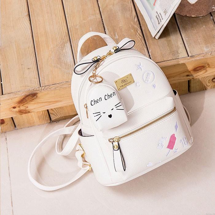 Cute Ice-Cream Love Cartoon Mini Embroidery Soft PU Small Student Backpack