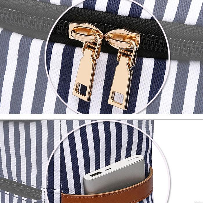 Unique Vertical Stripes Student Bag Summer Canvas Stripe School Backpacks