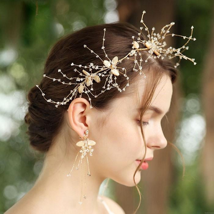 Unique Handmade Shell Leaves Crystal Wedding Hair Band Hair Accessories