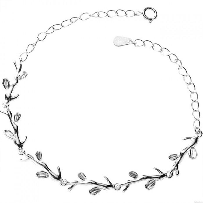 Cute Forest Style Leaves Lover Gift Accessories Women Bracelet Branch Silver Bracelet