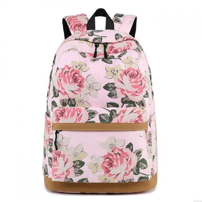 Leisure Large Flower Middle School Bag Floral USB Interface Rose Canvas Laptop Student Backpack