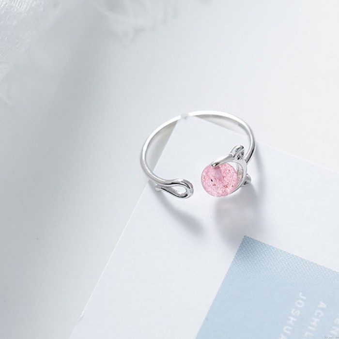Cute Strawberry Crystal Cat Female Silver Open Ring