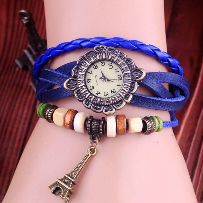 Retro Eiffel Tower Leather Bracelet Watches