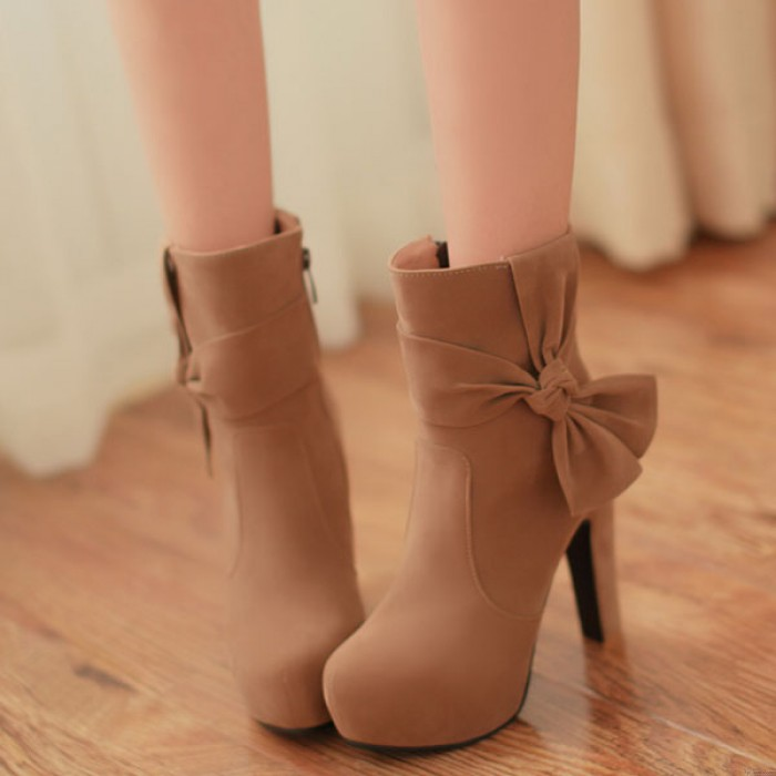 New Sweet Bowknot High Heel Side Zipper Boots