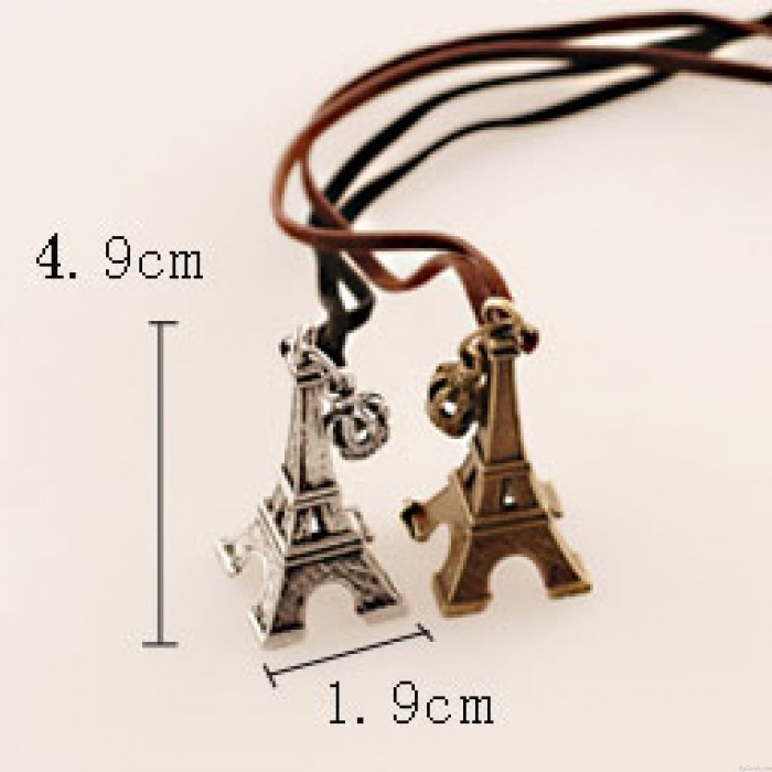 Vintage Eiffel Tower Crown Leather Long Necklace