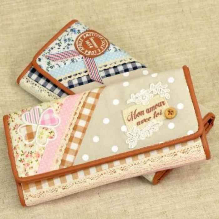Flower Printing Lace Grid Fresh Wallet