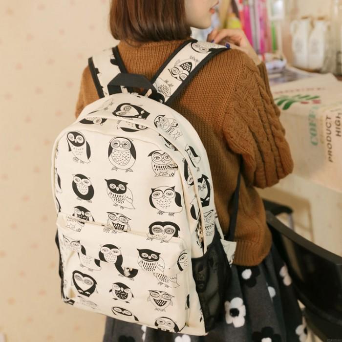 Cute Cartoon Multi-Expression Owl Canvas Backpack