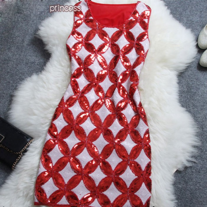 Retro Beaded Copper Cash Pattern Sleeveless Dress