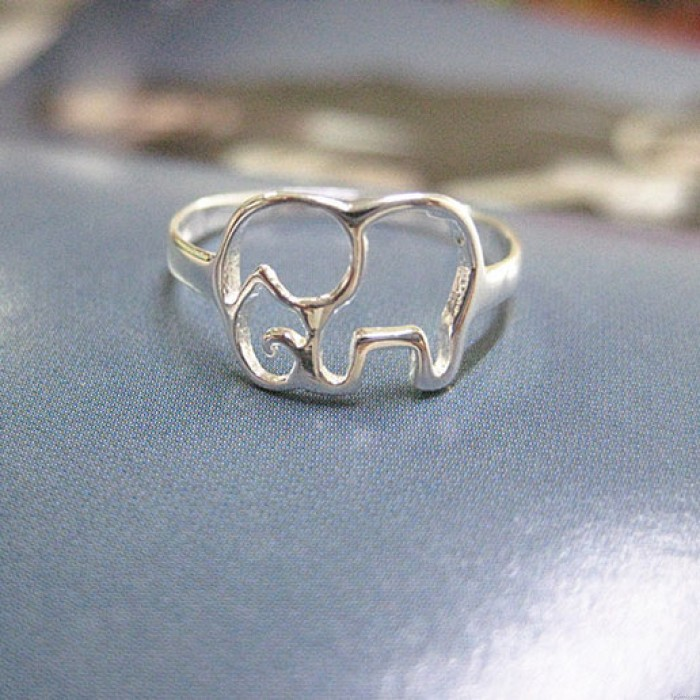 Cute Simple Hollow Elephant Silver Ring