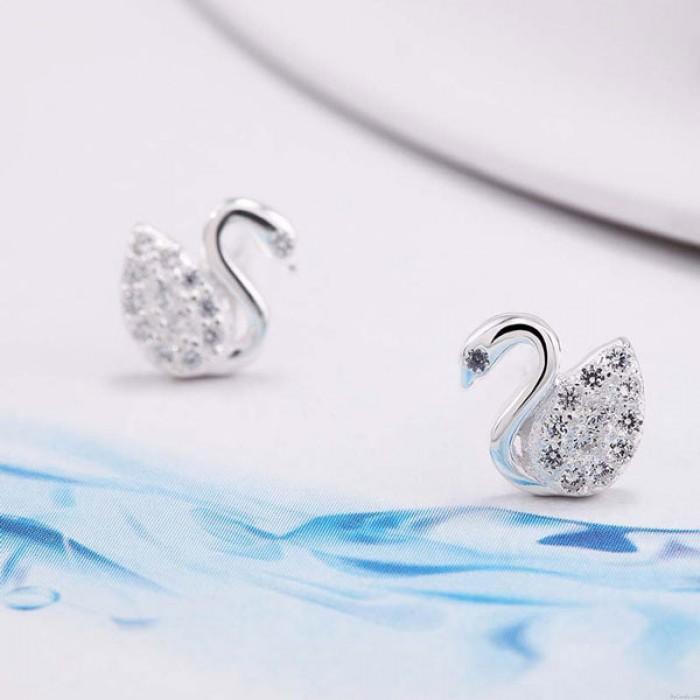 Shining Jewelry Swan Inlay Diamond Elegant Silver Earrings