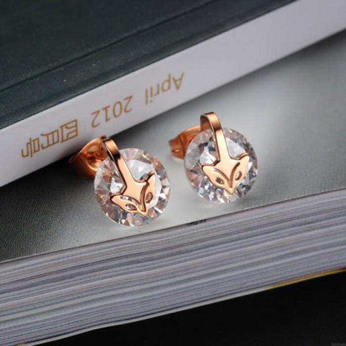 Rose Gold Plated Fox Zircon Pendant Necklace/Stud Earrings
