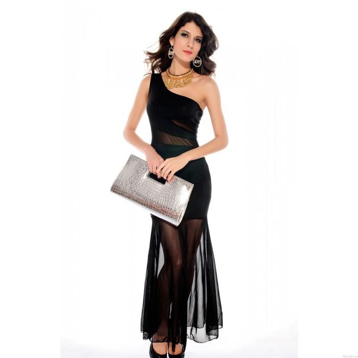 Sexy Perspective Oblique Gauze Dress