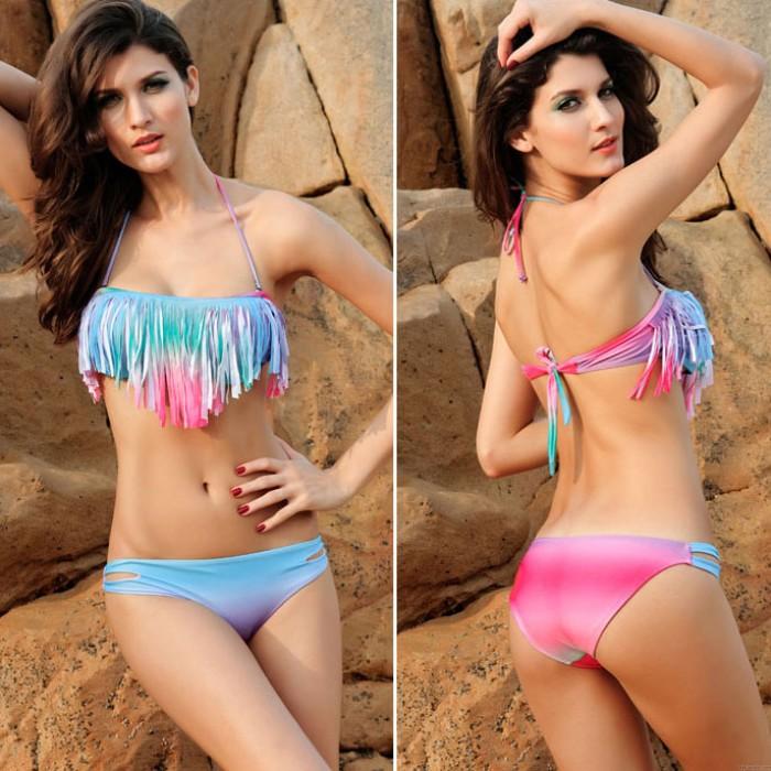 Hot Sexy Colorful Gradient Tassel Bikini