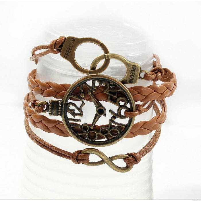 Retro Clock Handcuffs Infinity Bracelet