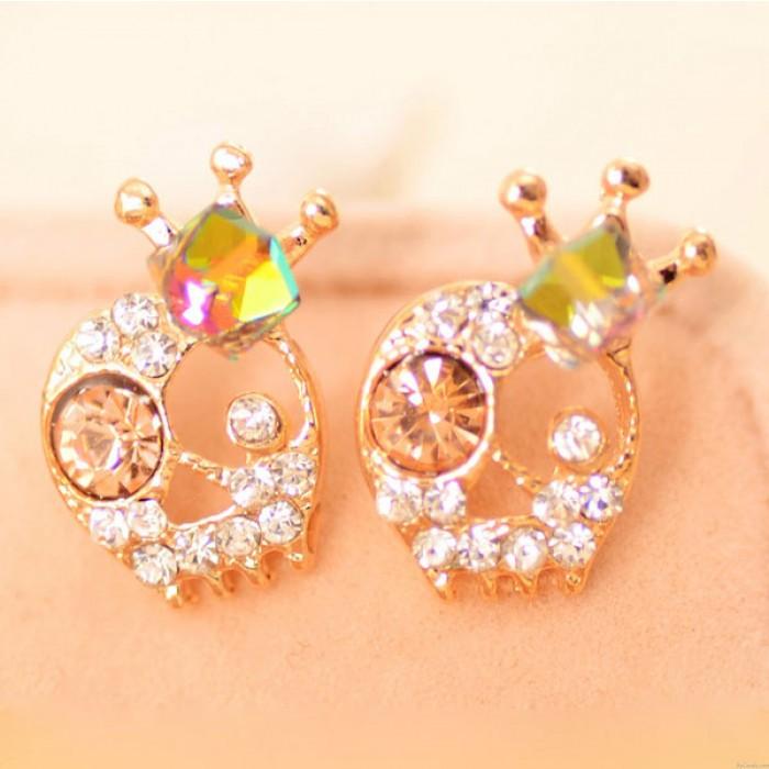 Cute Skull Diamond Crown Ear Studs