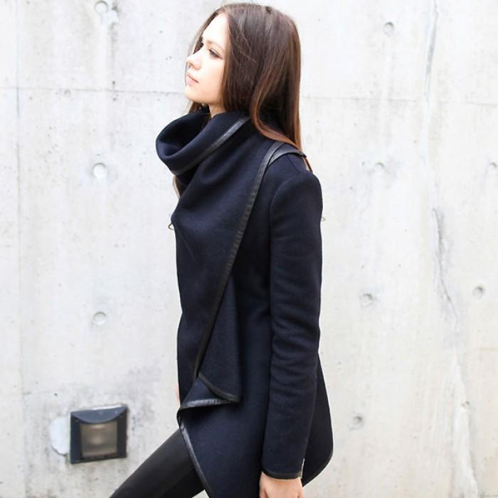 Unique Slim Irregular Woolen Coat Windbreaker Jacket