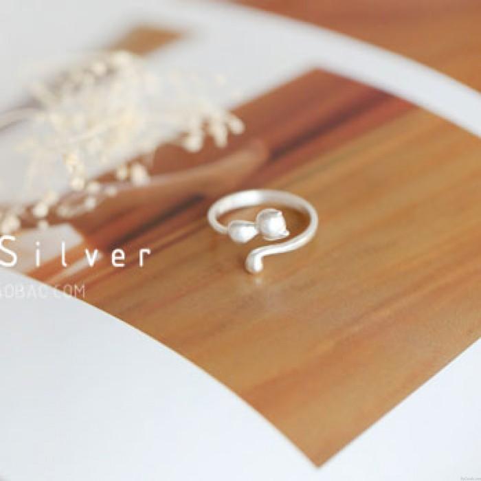 Lovely Kitten Animal Jewelry 925 Silver 3D Cat Open Rings