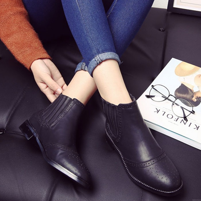 British Style Vintage Solid Elastic Short Low-heeled Brogue Boots
