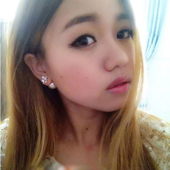 Sweet Ladies Pearl Diamond Pieces Shining Dual Earrings